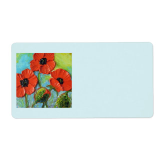 Paris' Red Poppies Shipping Labels