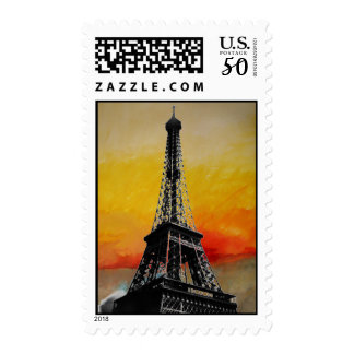 Paris Red Yellow Abstract Eiffel Tower Postage