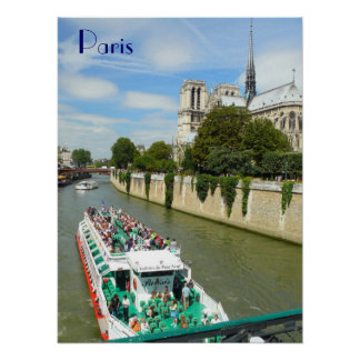 Paris River Tour Boat and Notre Dame Poster