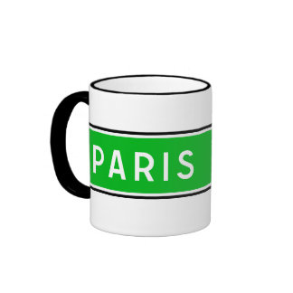 Paris, Road Sign, France Ringer Coffee Mug