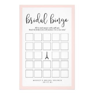 Paris Romance Bridal Shower Bingo Game Flyer