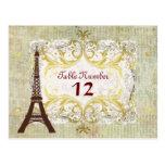 Paris Romantic Classy Vintage Table Cards Postcard