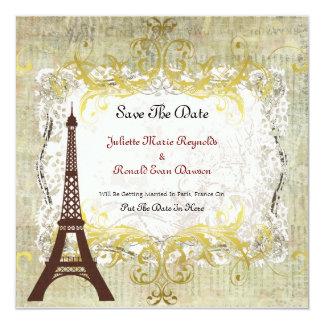 Paris Romantic Vintage Save The Date Card