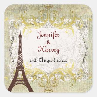 Paris Romantic Vintage Style Square Sticker