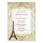 "Paris Romantic Vintage Style Wedding 5"" X 7"" Invitation Card"