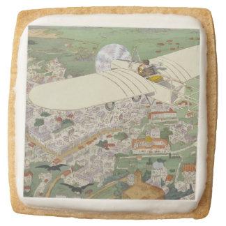 Paris-Rome Monoplane Beaumont Le Gagnant Bleriot Square Shortbread Cookie