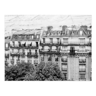 Paris Rooftops in Black and White Postcard