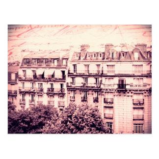 Paris Rooftops in Pink Postcard