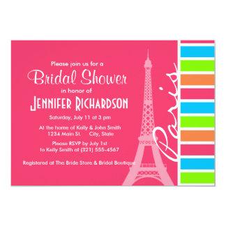 París rosada; Arco iris de neón retro Invitación 12,7 X 17,8 Cm