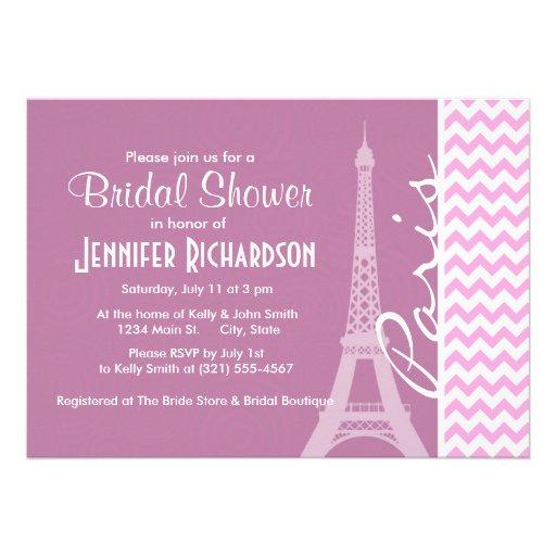 París rosada Chevron Invitacion Personalizada