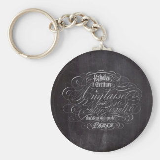 Paris rustic country chalkboard French Scripts Keychain