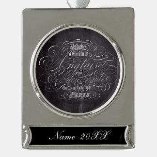 Paris rustic country chalkboard French Scripts Silver Plated Banner Ornament