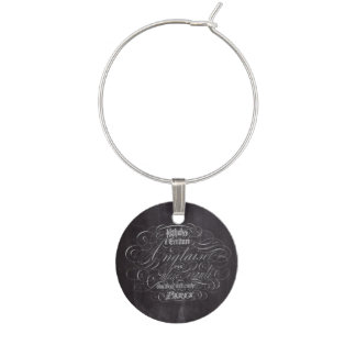 Paris rustic country chalkboard French Scripts Wine Charm