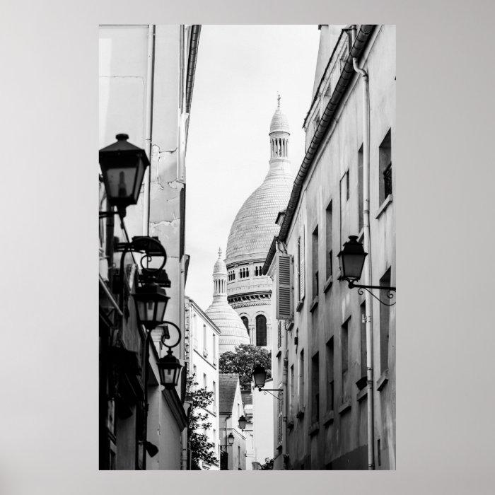 paris sacre coeur in black and white poster zazzle. Black Bedroom Furniture Sets. Home Design Ideas
