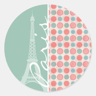 Paris; Salmon, Coral Pink, & Seafoam Classic Round Sticker