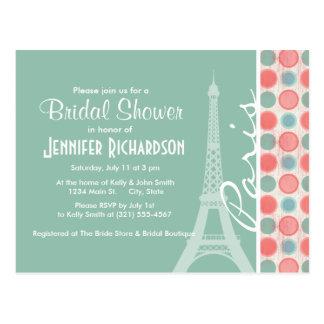 Paris; Salmon, Coral Pink, & Seafoam Postcard