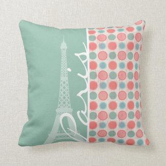 París; Salmones, rosa coralino, y Seafoam Cojin