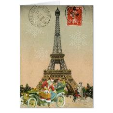 Paris Santa And Snowman Christmas Card at Zazzle