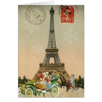 París Santa y tarjeta de Navidad del muñeco de nie