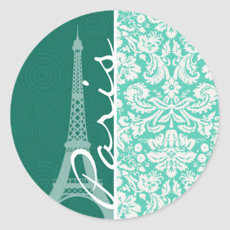 Paris; Seafoam Green Damask Classic Round Sticker