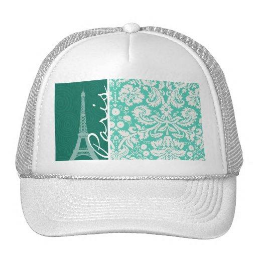 Paris; Seafoam Green Damask Trucker Hat
