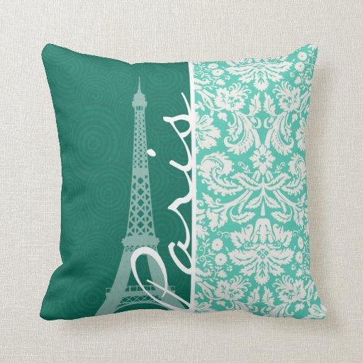 Paris; Seafoam Green Damask Pillows Zazzle
