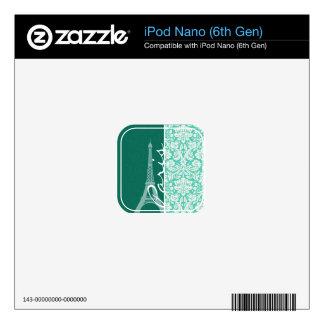 Paris; Seafoam Green Damask Skin For iPod Nano 6G