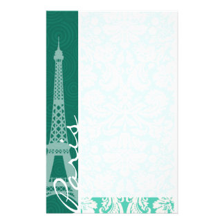 Paris; Seafoam Green Damask Stationery