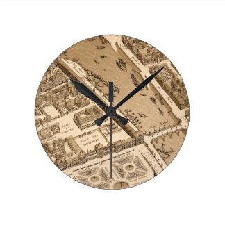 Paris Seine Map 1700s Antique Louvre Palais France Round Clock