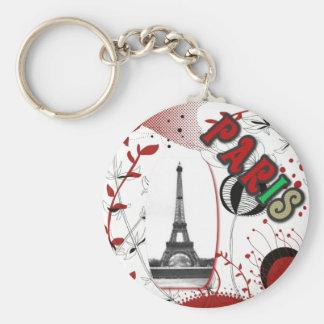Paris seventies basic round button keychain