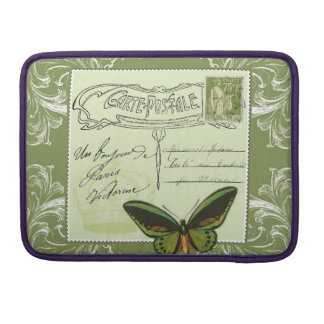 Paris shabby chic victorian collage handwriting sleeve for MacBook pro