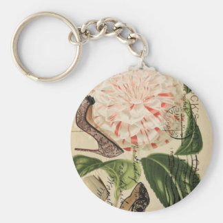 paris shoes floral french botanical art keychain