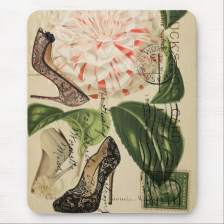 paris shoes floral french botanical art mouse pad