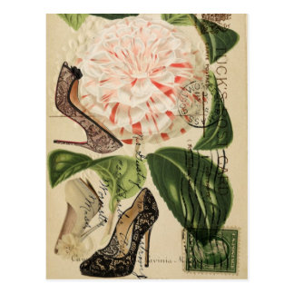 paris shoes floral french botanical art postcard