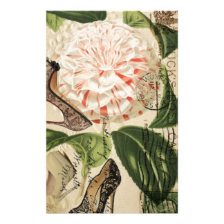 paris shoes floral french botanical art stationery
