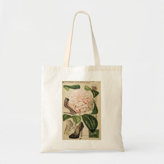 paris shoes floral french botanical art tote bag