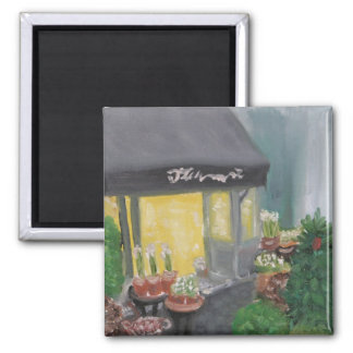 Paris Shopping by Candlelight 2 Inch Square Magnet