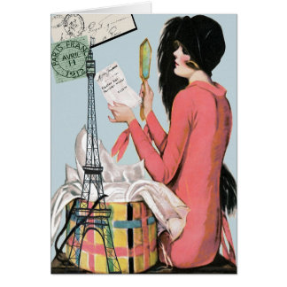 """""""PARIS SHOPPING"""" VINTAGE EASTER MILLINERY GREETING CARD"""