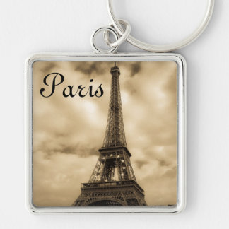 Paris Silver-Colored Square Keychain