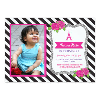 Paris Silver Glitter Floral Stripe Invitation