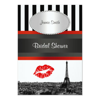 Paris Skyline BW Stripe Red Kiss PV Bridal Shower Card