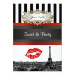 Paris Skyline BW Stripe Red Kiss Sweet 16 Party 5x7 Paper Invitation Card