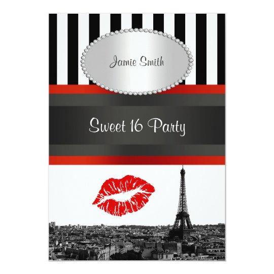 Paris Skyline BW Stripe Red Kiss Sweet 16 Party Card