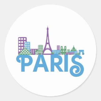 Paris Skyline Classic Round Sticker