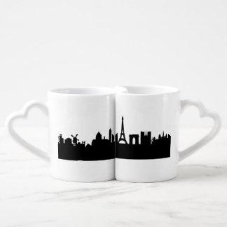 paris skyline coffee mug set