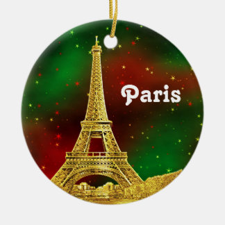 Paris Skyline Etched, Green Red Starry Sky Xmas Double-Sided Ceramic Round Christmas Ornament