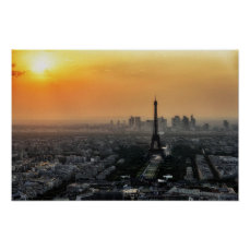 Paris Skyline In The Morning Poster