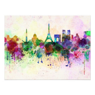 Paris skyline in watercolor background cojinete