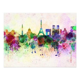 Paris skyline in watercolor background photo print
