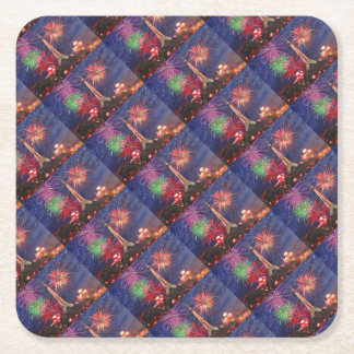 Paris skyline with fireworks New years eve Square Paper Coaster